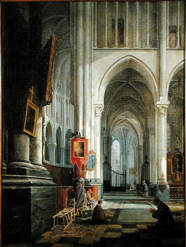 Detail of Interior of St. Omer Cathedral, 1836 by Hippolyte Joseph Cuvelier