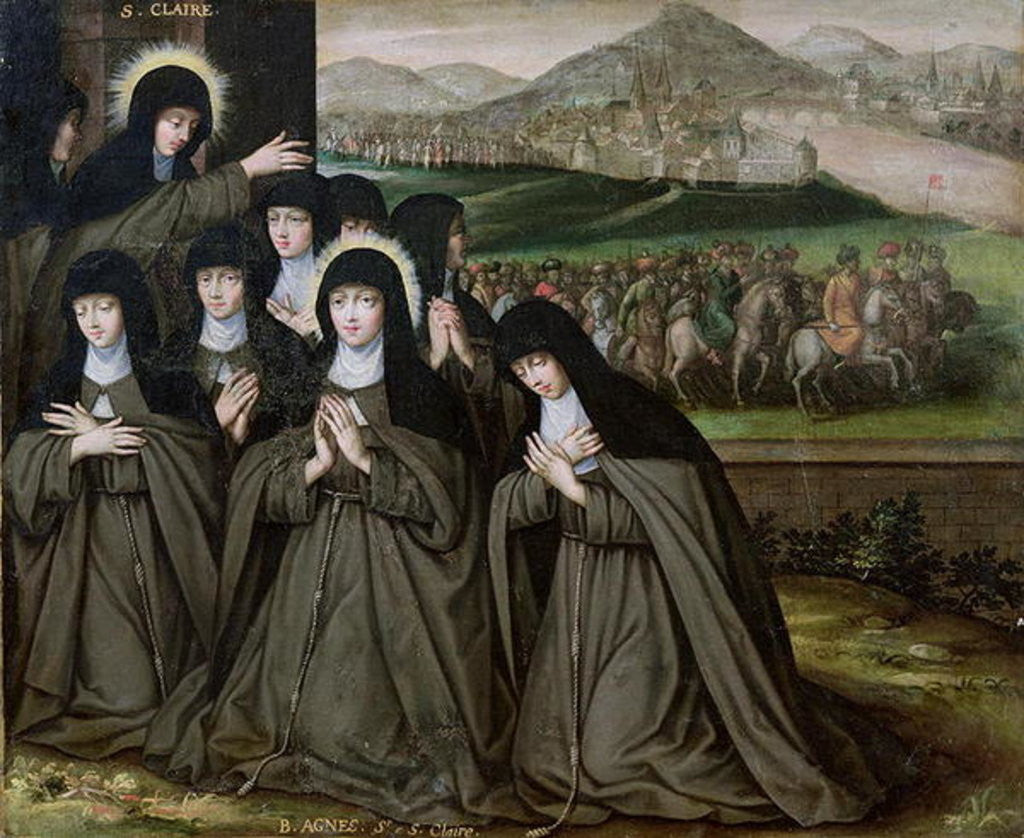 Detail of St. Claire with her Sister, Agnes and Nuns by French School