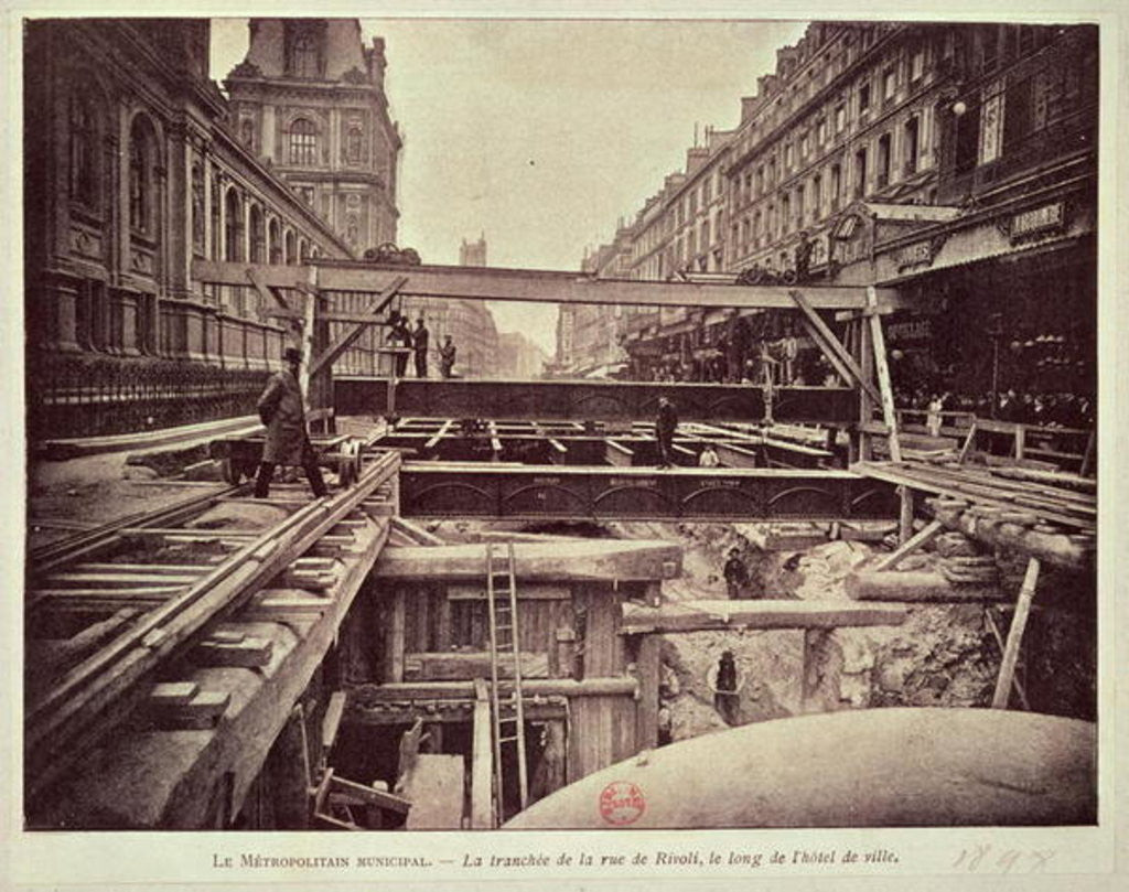 Detail of Construction of the metro system along the rue de Rivoli by French School