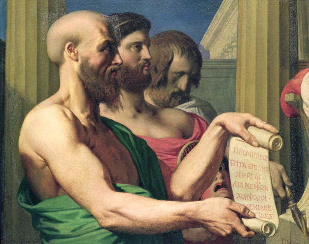 Detail of The Greek Tragedians, study for 'The Apotheosis of Homer' by Jean Auguste Dominique Ingres