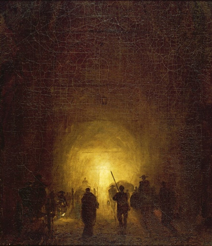 Detail of The Posillipo Cave at Naples by Hubert Robert