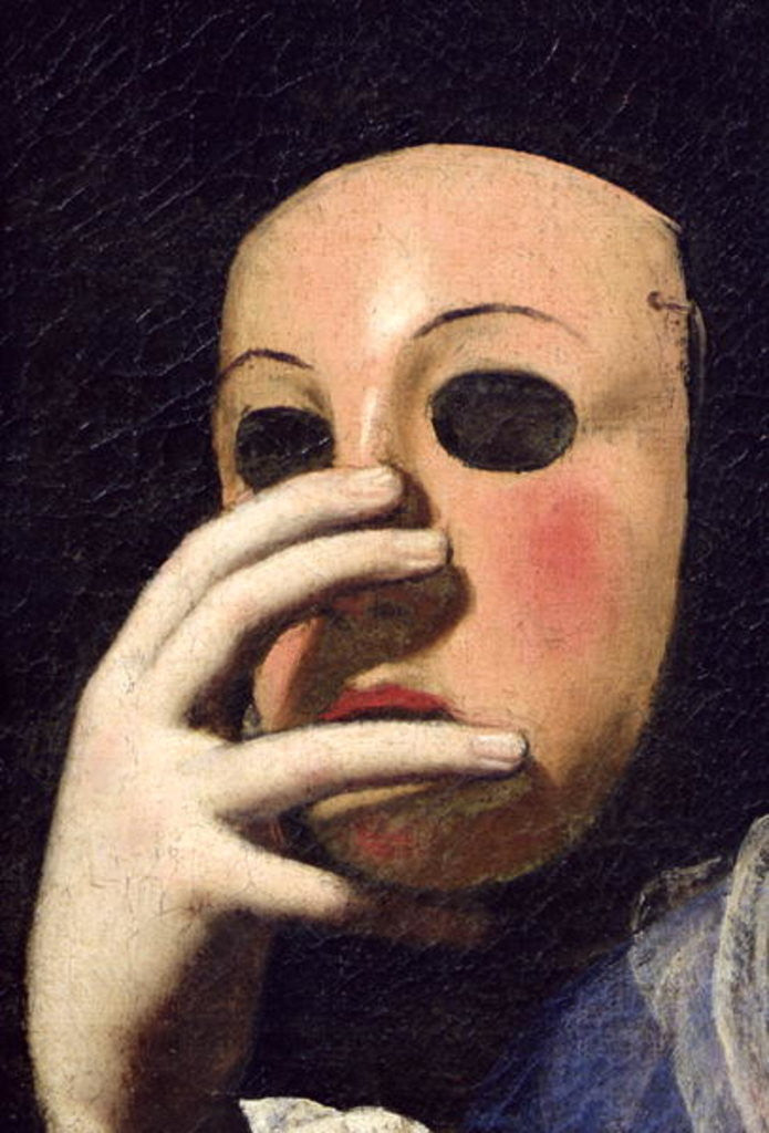 Detail of Woman with a Mask by Lorenzo Lippi
