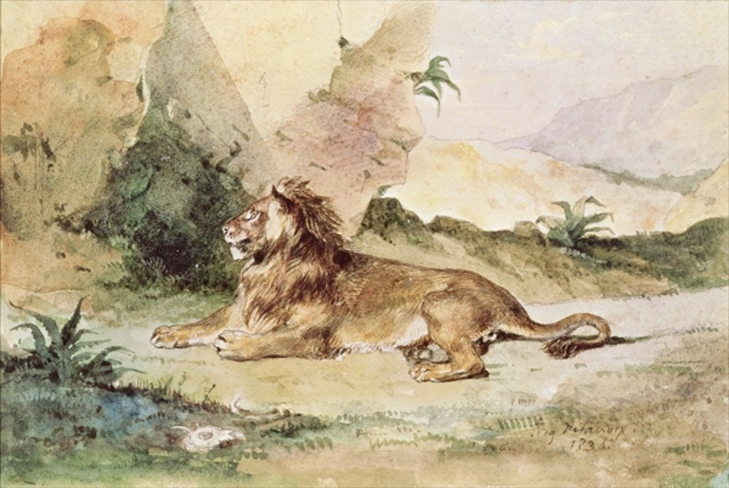 Detail of A Lion in the Desert by Ferdinand Victor Eugene Delacroix