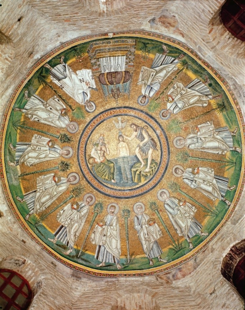 Detail of Baptism of Christ surrounded by the twelve apostles bearing crowns by Byzantine School