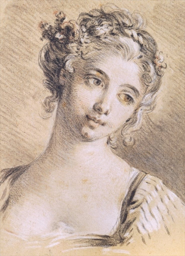 Detail of Head of a Young Girl by Francois Boucher