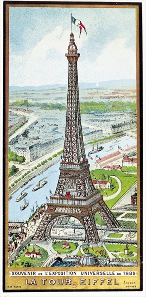 Detail of Postcard depicting the Eiffel Tower at the Exposition Universelle by French School