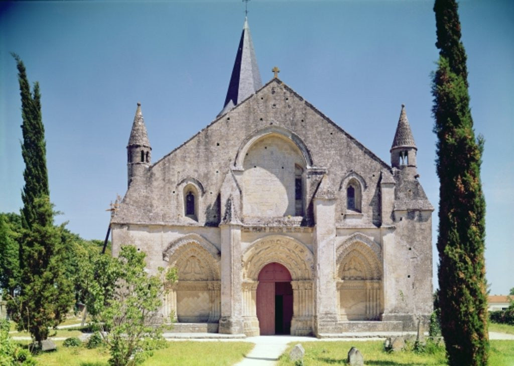 Detail of View of the facade of the Church of St. Pierre by French School