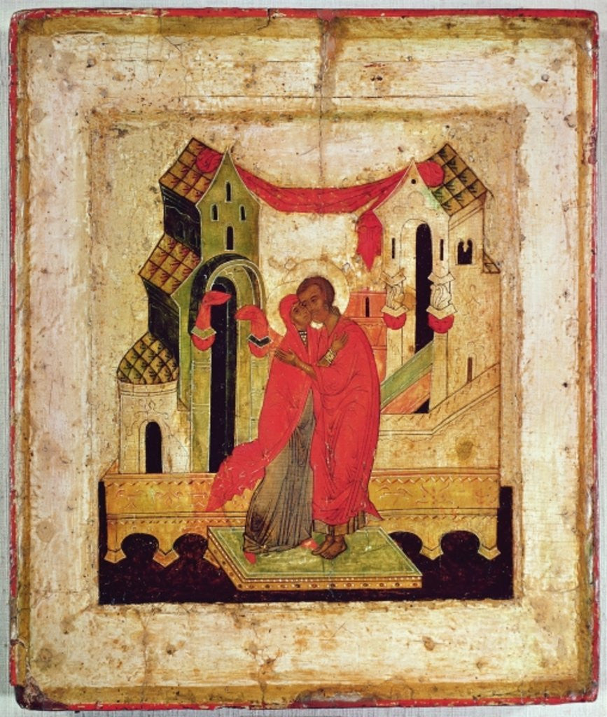 Detail of Icon depicting the meeting at the Golden Gate, Novgorod School by Russian School