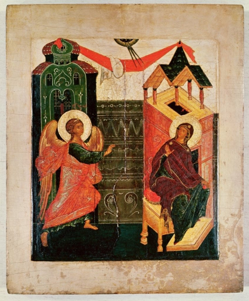 Detail of Icon depicting the Annunciation, Novgorod School by Russian School