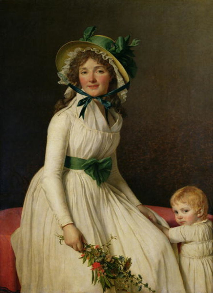 Detail of Madame Pierre Seriziat (nee Emilie Pecoul) with her Son, Emile by Jacques Louis David