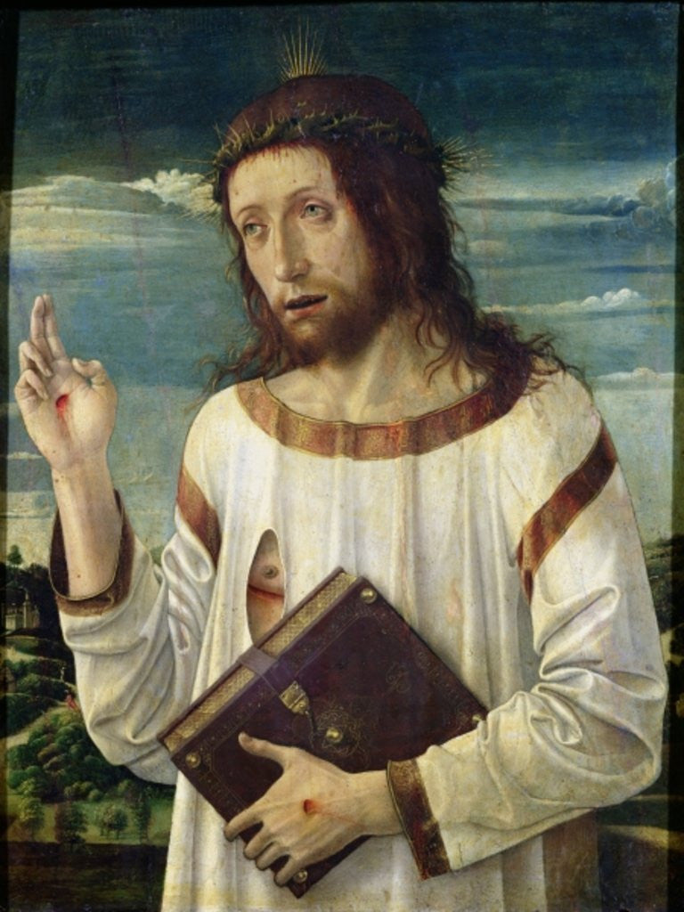 Detail of Christ Blessing by Giovanni Bellini