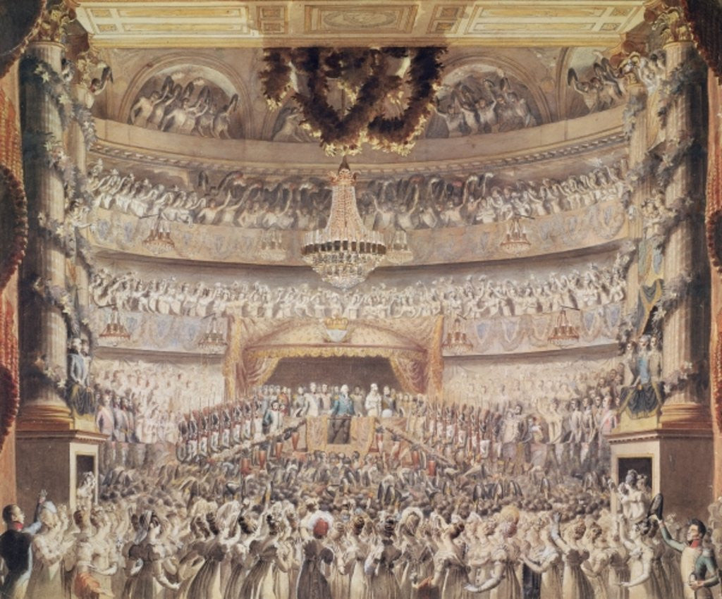 Detail of Louis XVIII at the Theatre de l'Odeon by Francois Buffet