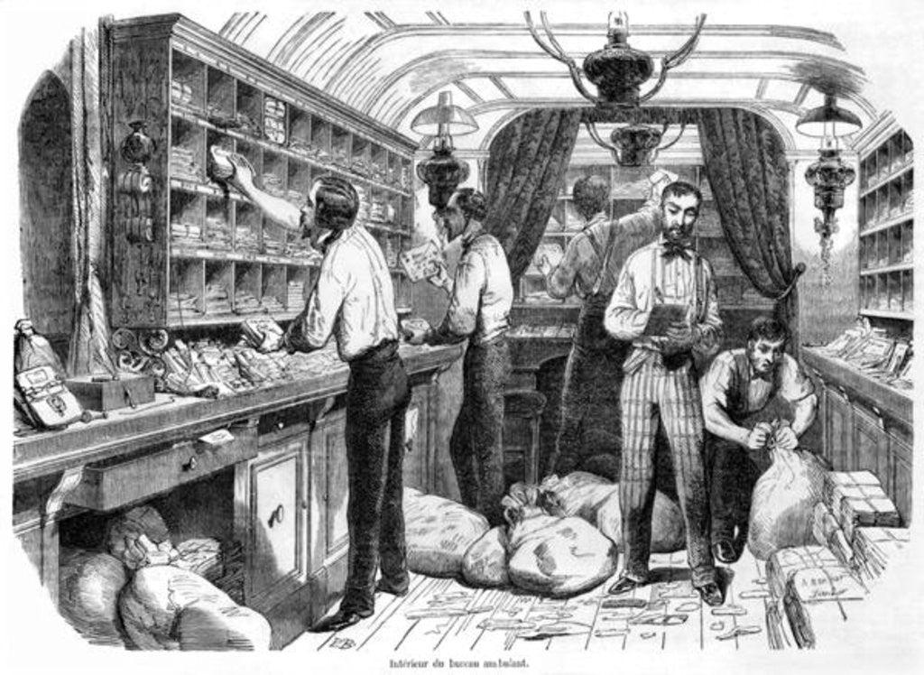 Detail of Interior of a French railway postal wagon by French School