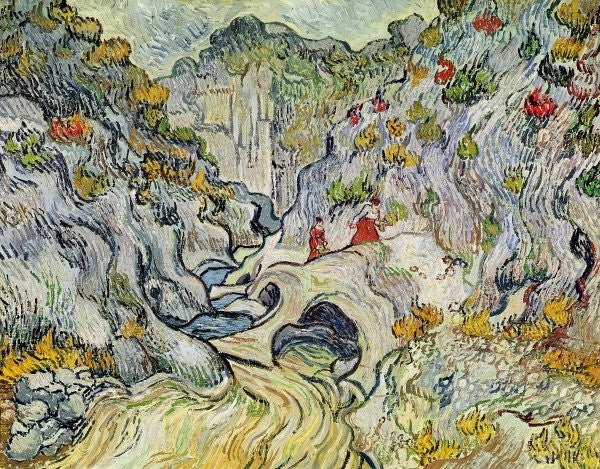 Detail of The ravine of the Peyroulets by Vincent van Gogh