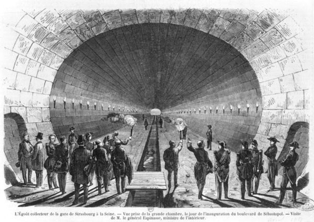 Detail of Main sewer from the Strasbourg Station to the Seine. Official visit of the Minister of Interior, General Charles Marie Esprit Espinasse by Henry Augustin Valentin