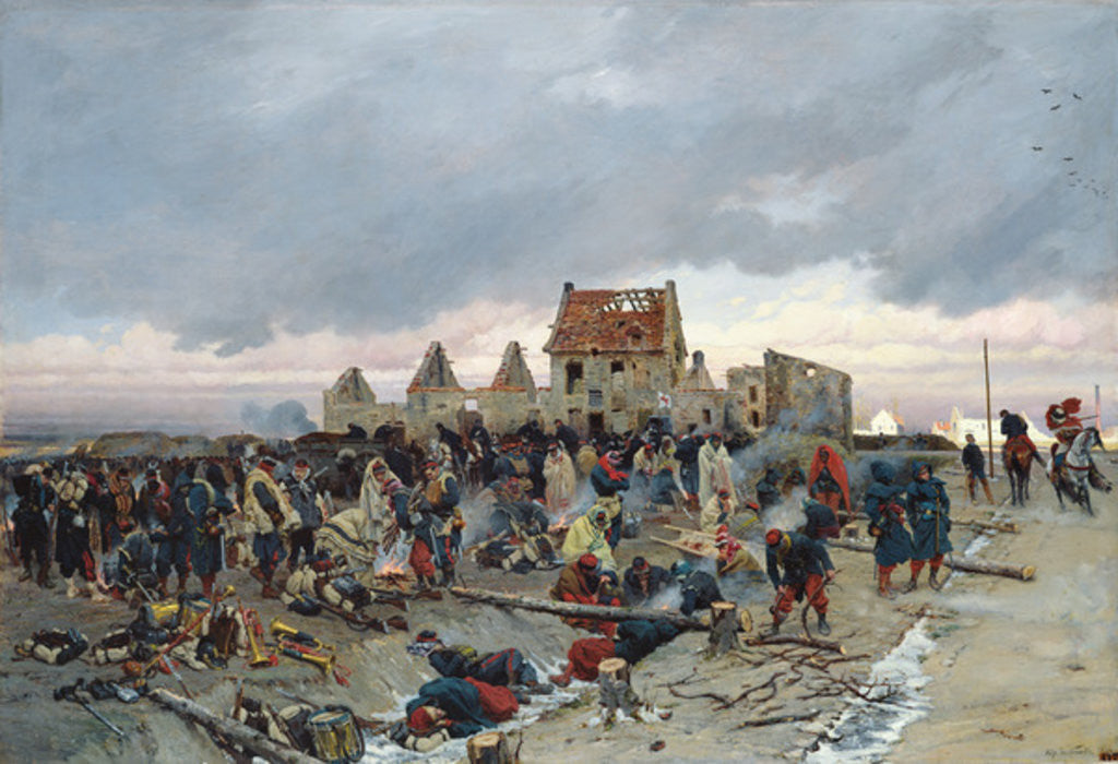Detail of Bivouac at Le Bourget after the Battle of 21st December 1870 by Alphonse Marie de Neuville