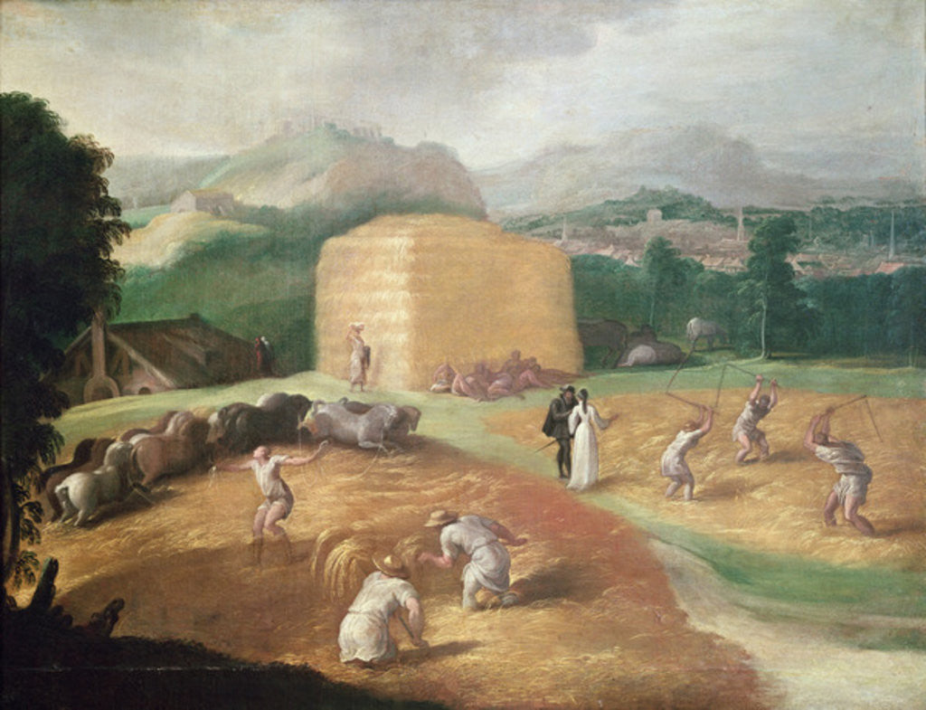 Detail of Landscape with Corn Threshers by Niccolo dell' Abate