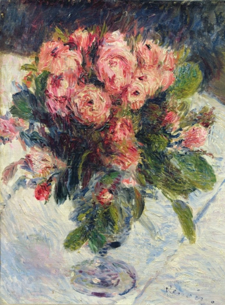 Detail of Moss-Roses by Pierre Auguste Renoir
