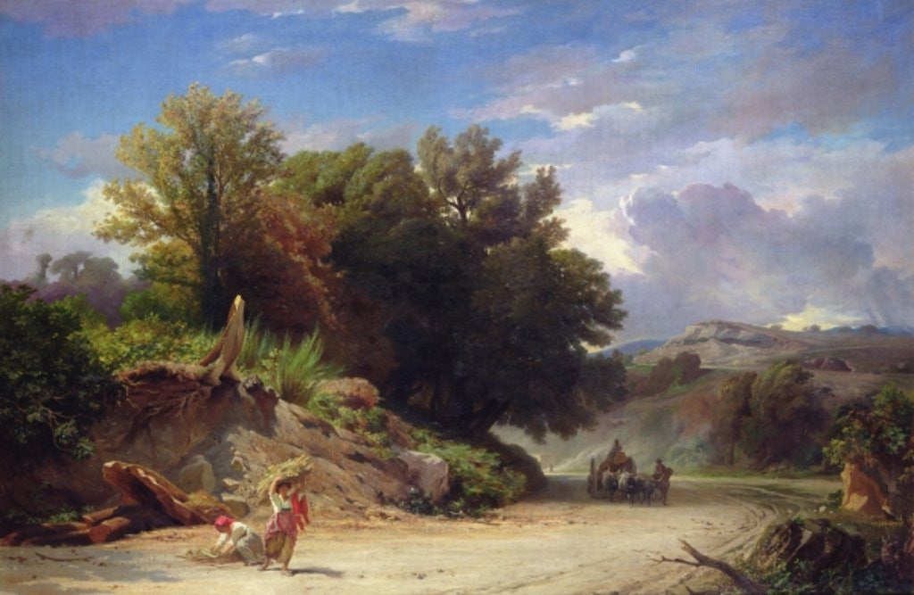 Detail of Landscape on the Outskirts of Rome by Jean Achille Benouville