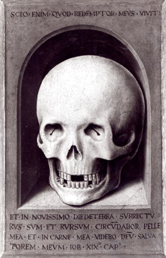 Detail of Skull, right hand panel reverse from the Triptych of Earthly Vanity and Divine Salvation by Hans Memling