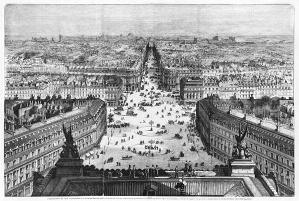 Detail of Improvements to Paris, opening of Avenue Napoleon after the building of the Butte des Moulins by Auguste Victor Deroy