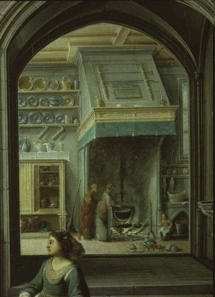 Christ in the house of Martha and Mary, detail of the kitchen