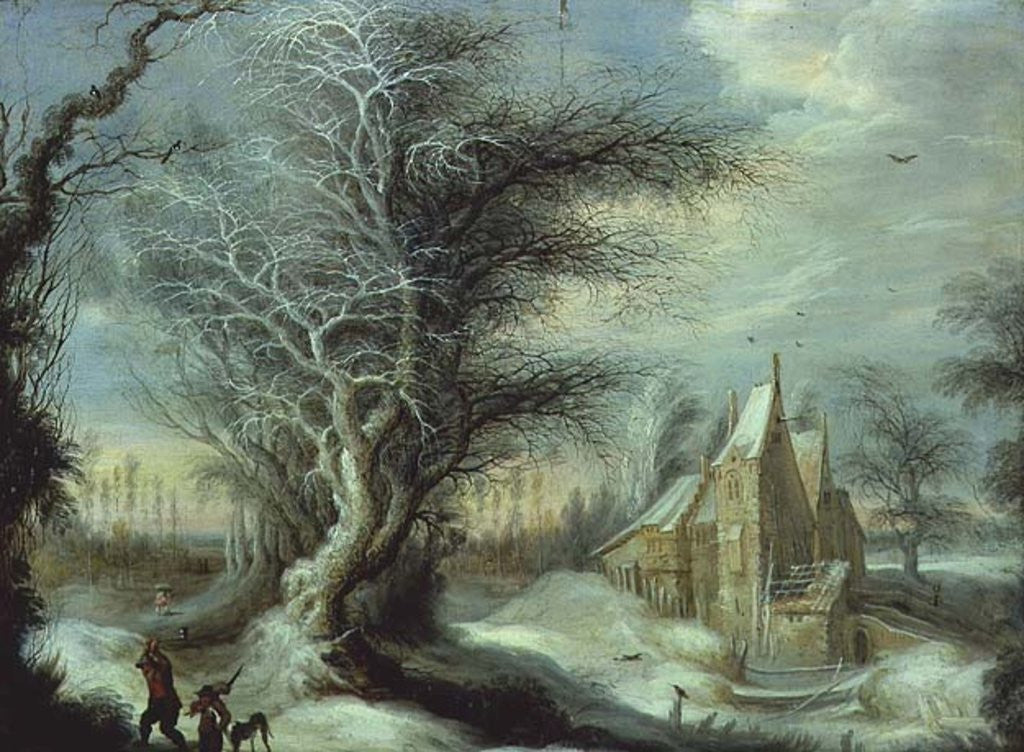 Detail of Winter Landscape with a Woodcutter by Gysbrecht Lytens or Leytens