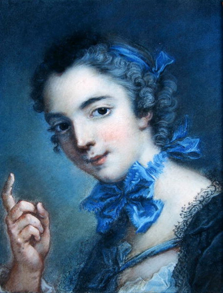 Detail of Portrait of a young girl by Jean-Marc Nattier