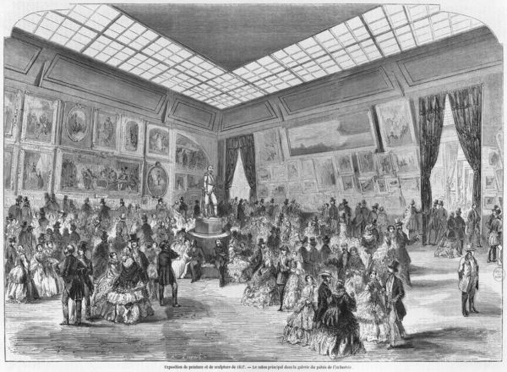 Detail of Salon of painting and sculpture of 1857, the main room in the Palais de l'Industrie gallery, Paris by A Provost