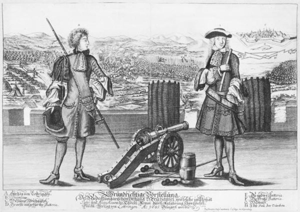 Detail of Charles V, Duke of Lorraine and Bar, with an engineer, at the battle of Neuhausel against the Turks by German School