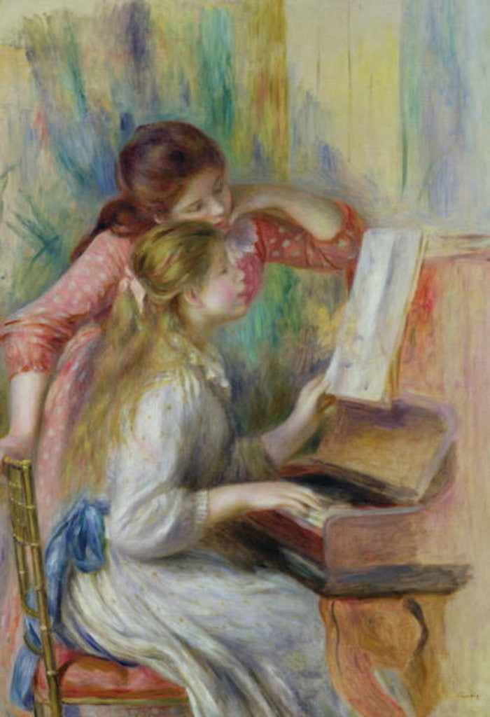 Detail of Young Girls at the Piano by Pierre Auguste Renoir
