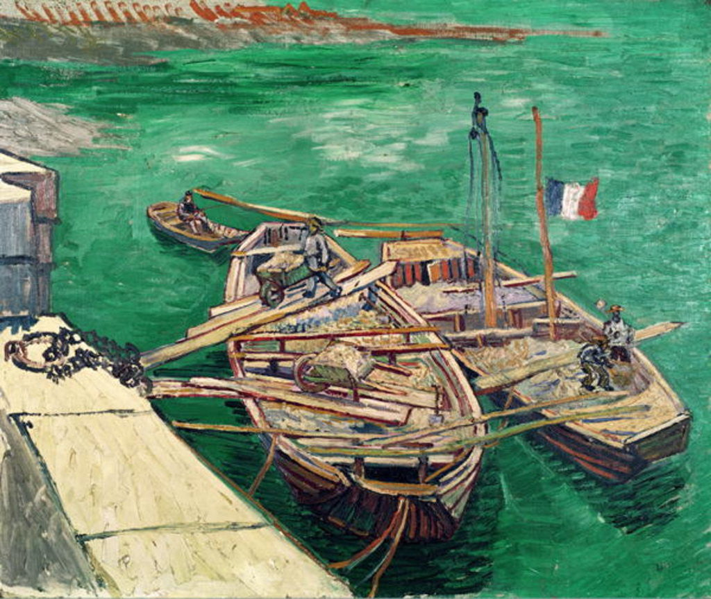 Detail of Landing Stage with Boats by Vincent van Gogh