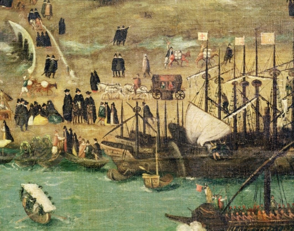 Detail of The Port of Seville by Alonso Sanchez Coello