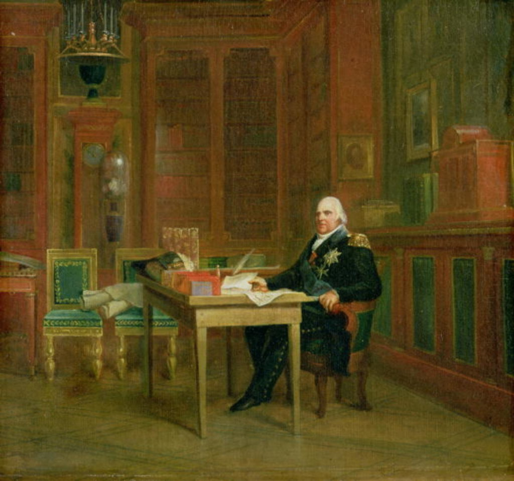 Detail of Louis XVIII in his Study at the Tuileries by Francois Pascal Simon