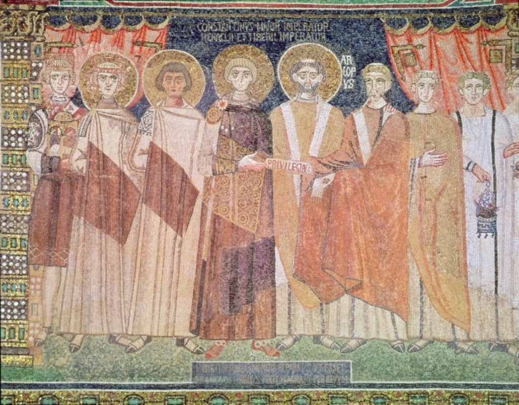 Detail of Constantine IV granting Bishop Reparatus privileges for the church of Ravenna by Byzantine School