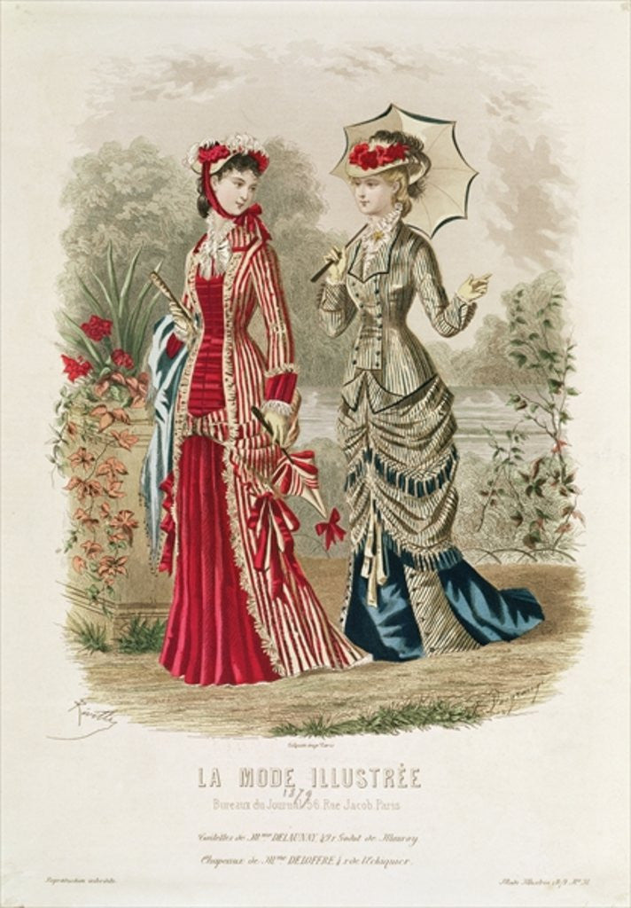 Detail of Fashion plate showing hats and dresses by French School