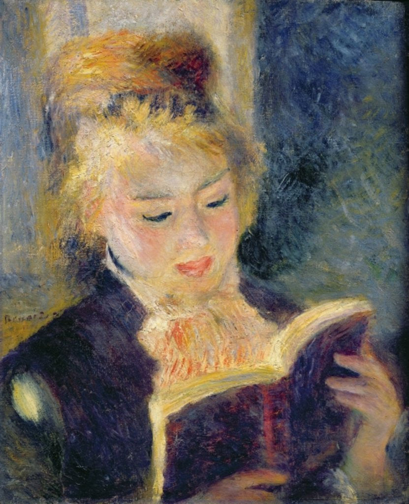 Detail of Girl Reading by Pierre Auguste Renoir