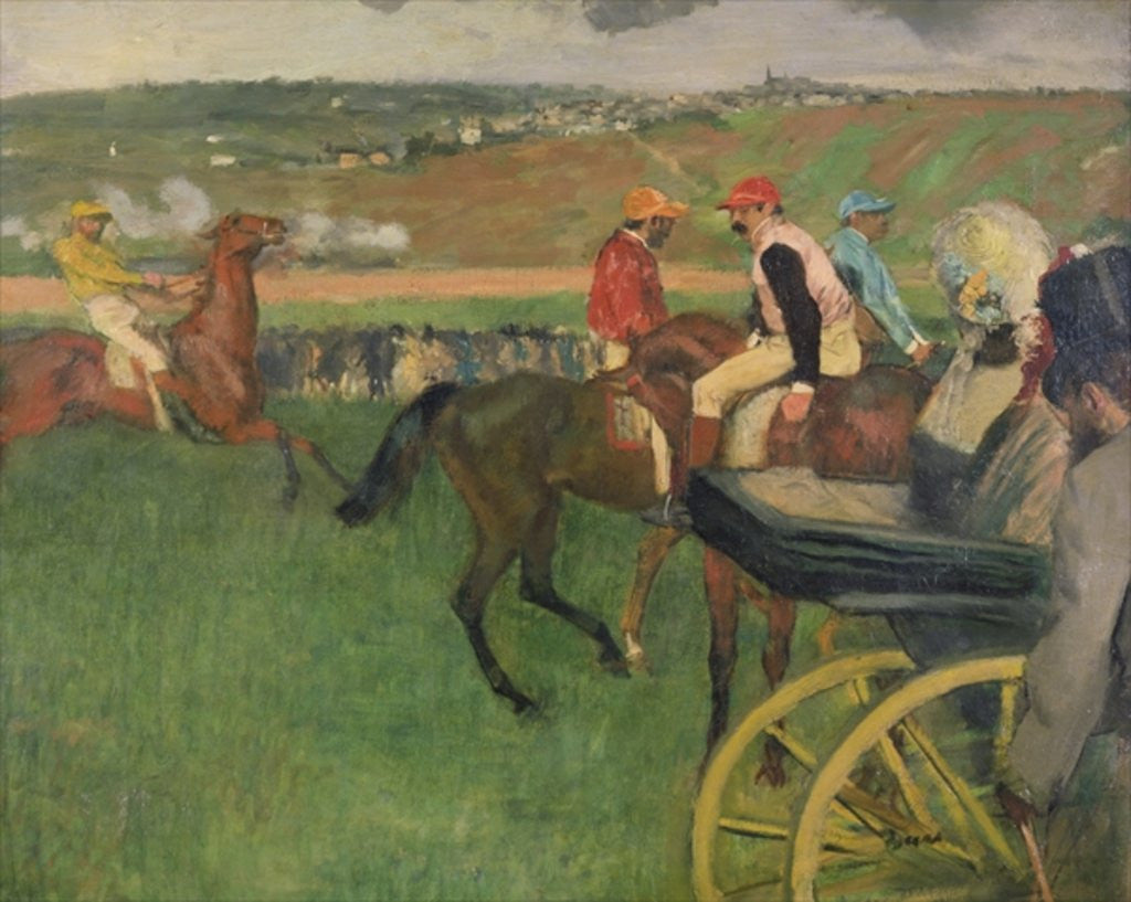 Detail of The Race Course - Amateur Jockeys near a Carriage by Edgar Degas