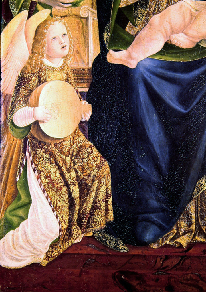 Detail of Madonna and Child with Angel Musicians, detail of an Angel Playing the Lute by Lombard School