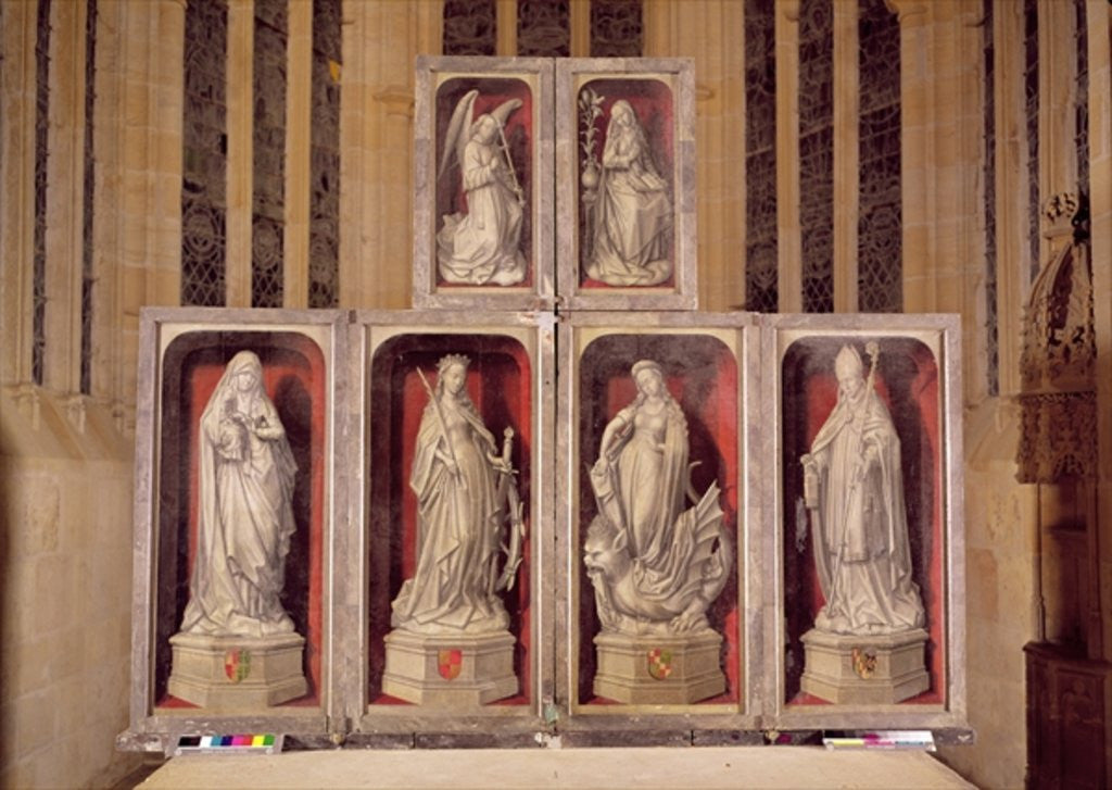 Detail of View of the panels of the closed altarpiece, depicting the Annunciation and saints by Rogier van der Weyden