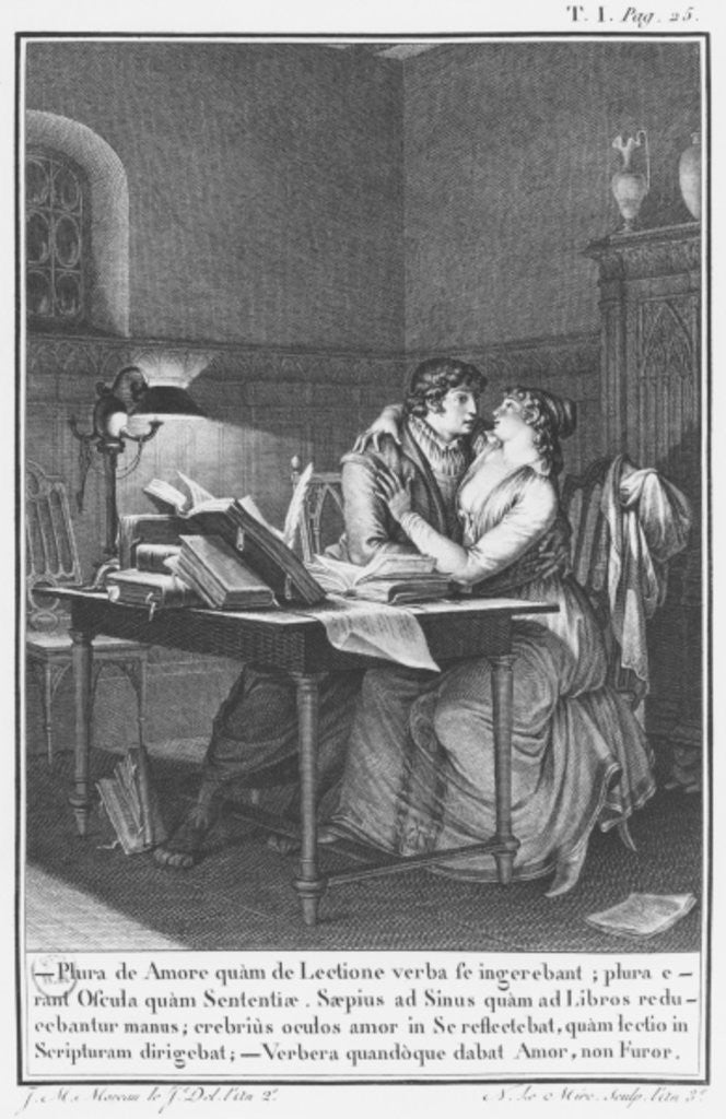 Detail of Heloise and Abelard in their study by engraved by Noel Le Mire