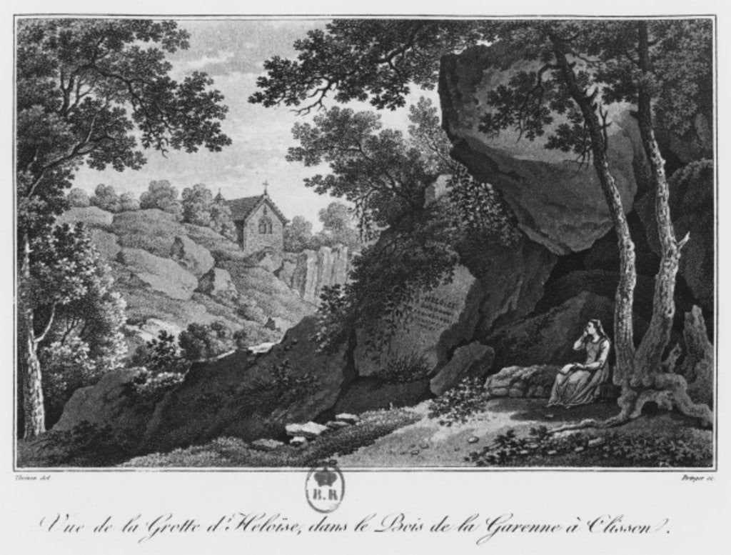 Detail of View of Heloise grotto in the park of La Garenne at Clisson by Claude Thienon