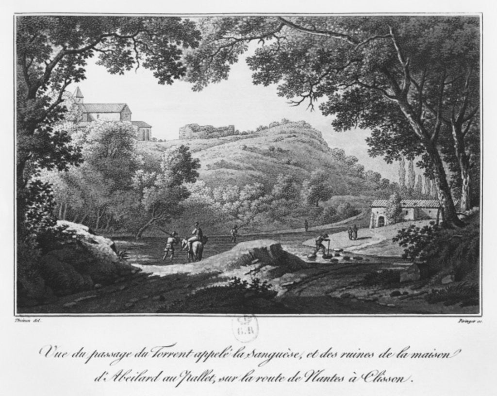 Detail of View of the torrent known as La Sanguese and the ruins of the house of Abelard at the Pallet, on the road from Clisson to Nantes by Claude Thienon