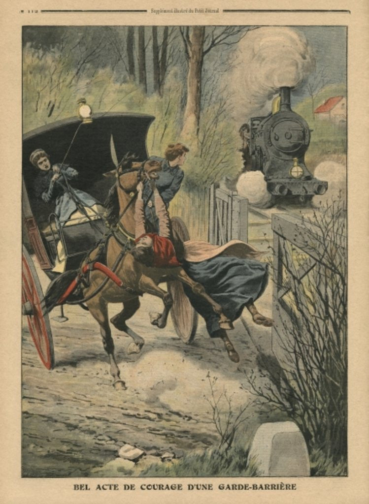 Detail of Act of bravery of a level-crossing keeper by French School