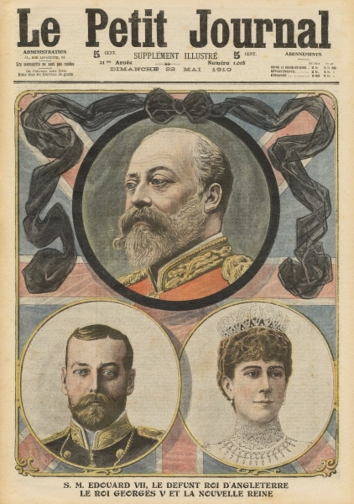 Detail of Death of King Edward VII, King George V and Queen Mary by French School