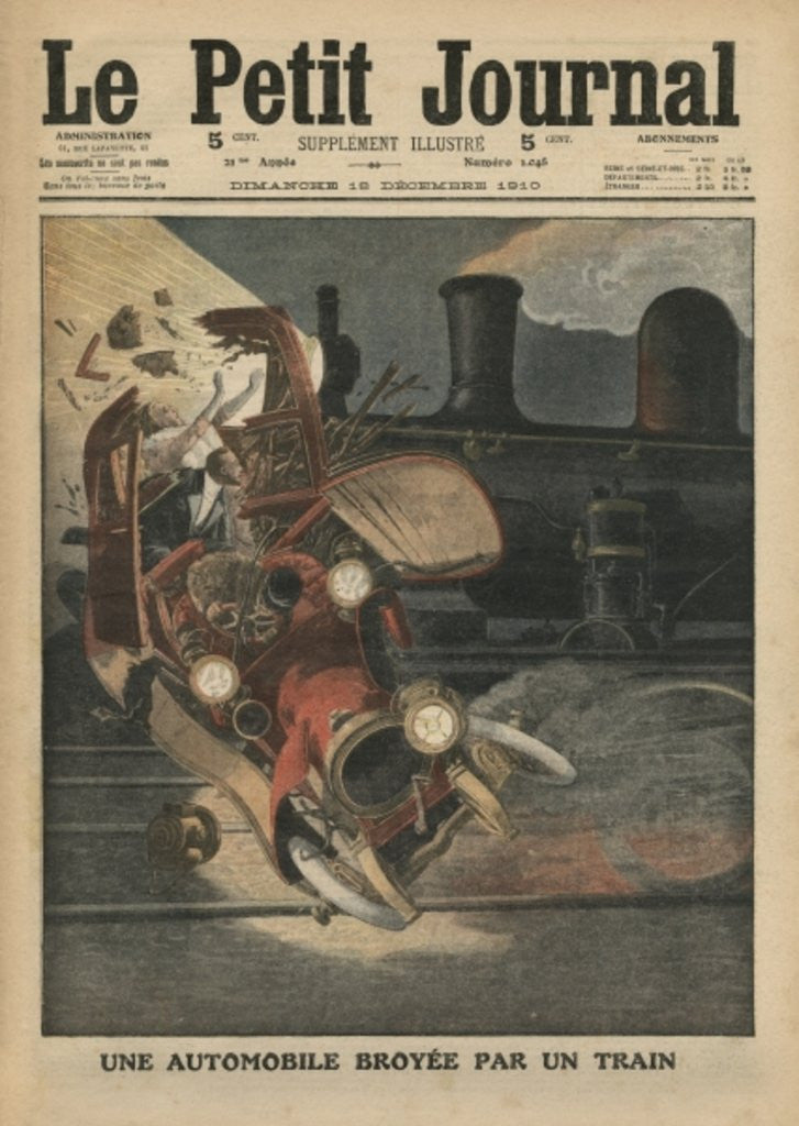 Detail of A motor car crushed by a train by French School