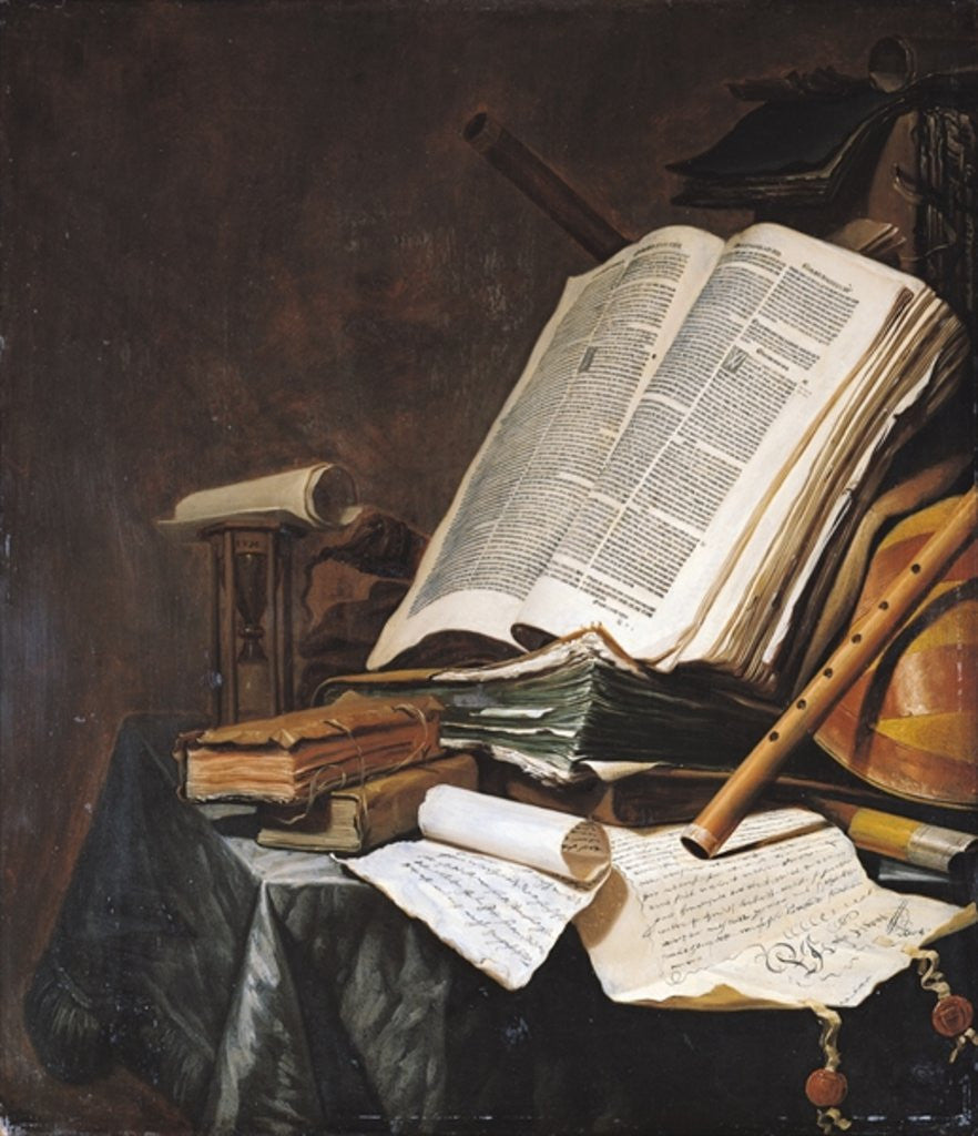 Detail of Books and Musical Instruments by Jan Vermeulen