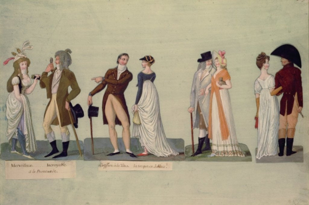 Detail of Fol.50 Merveilleuse...Incroyable promenading; Coiffure a la Titus...Tocque in the Jockey style by P. A. & Lesueur