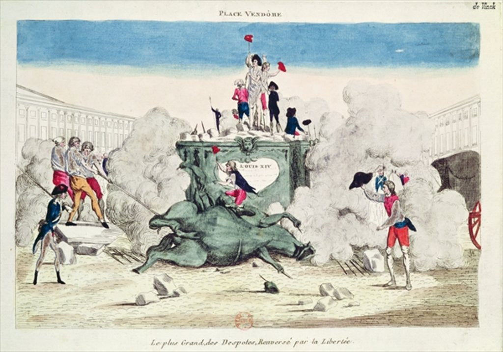 Liberty toppling the statue of the Greatest Despot in the Place Vendome on by French School