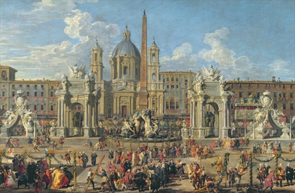 Detail of Preparation For the Firework Display Held at Piazza Navona, Rome, to Celebrate the Birth of the Dauphin by Giovanni Paolo Pannini or Panini